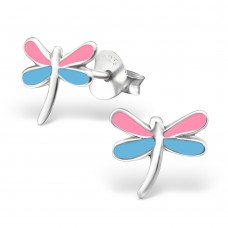 E00042-BL Sterling Silver Dragonfly Ear rings with epoxy
