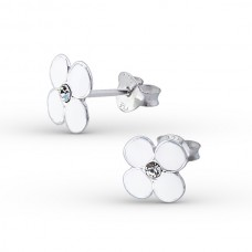 E00096-WH Sterling Silver Flower Ear rings with clear crystal