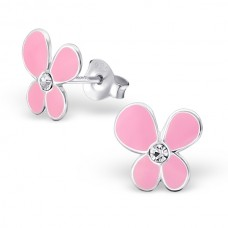 BB0003-PK Sterling Silver Flower Ear rings with crystal and epoxy