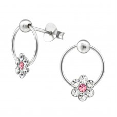 E01263-XX   Sterling Silver Circle Flower Ear rings with crystals