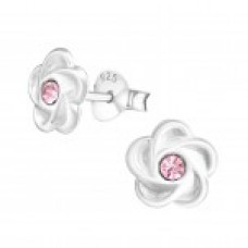 E02086-PK     Sterling  Silver Flower Ear rings with crystal center