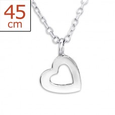 P01421-SS Sterling Silver Open Heart Pendant Necklace