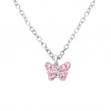 P01992-PK  Sterling Silver Crystal Butterfly Pendant Necklace