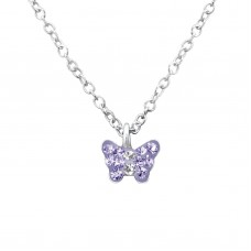 P01992-PU  Sterling Silver Crystal Butterfly Pendant Necklace