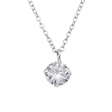 P02021-CR  Sterling Silver CZ Pendant Necklace