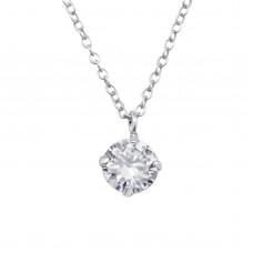 P02021-CR  Sterling Silver CZ Pendant Necklace