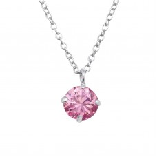 P02021-PK  Sterling Silver CZ Pendant Necklace