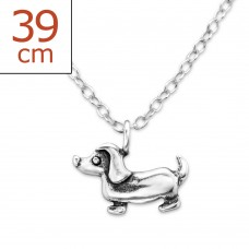 P08694-SS   Sterling silver sausage dog pendant necklace