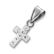 P0014C-CR   Sterling Silver Cross Pendant Necklace with crystals