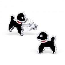 E01382-BK Sterling Silver Poodle Ear Rings with epoxy