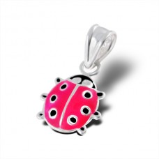 P00033-PK   Sterling Silver Ladybird pendant necklace