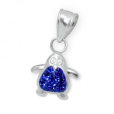 P00016-BL Sterling Silver Penguin Pendant Necklace with crystals