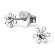 E01261-CR Sterling Silver Flower Ear rings with Crystal center