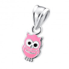 P00044-PK   Sterling Silver Owl Pendant Necklace with epoxy