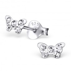 E01428-CR    Sterling Silver Butterfly Ear rings with Crystal