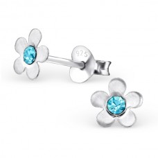 E00074-AQ Sterling Silver Flower Ear rings with crystals