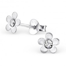 E00074-CR Sterling Silver Flower Ear rings with crystals