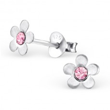 E00074-PK Sterling Silver Flower Ear rings with crystals