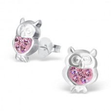 E00010-PK Sterling Silver Owl Ear rings with pink crystals