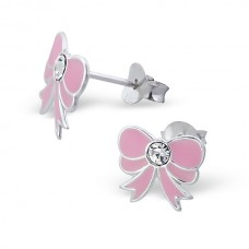 E00093-PK Sterling Silver Bow Ear rings with crystal & epoxy