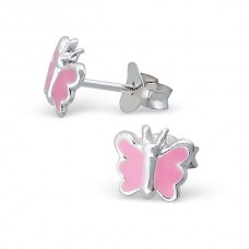 E00163-K Sterling Silver Butterfly Ear rings with epoxy