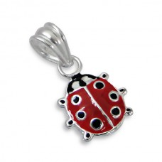 P00033-RD   Sterling Silver Ladybird pendant necklace