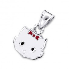 P00070-WH   Sterling silver cat pendant necklace