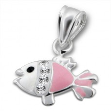 P00293-PK  Sterling Silver Fish Pendant Necklace with crystals & epoxy