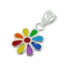 P01036-MX  Sterling silver coloured flower pendant necklace