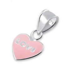 P0016H-PK  Sterling Silver Love Pendant Necklace with epoxy