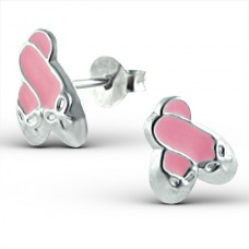 E01067-PK Sterling Silver Ballet shoe Ear Rings with epoxy