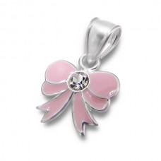 P00093-PK   Sterling silver BOW pendant necklace