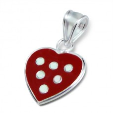 P00034-RD  Sterling Silver Small Heart Pendant Necklace with red epoxy