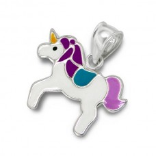 P01167-PU  Sterling silver unicorn pendant necklace