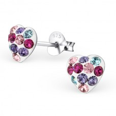 E00018-MX Sterling Silver Heart Ear rings with mixed crystals