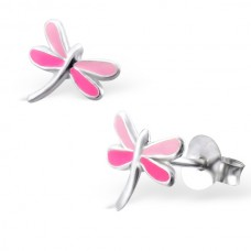 E00042-PK Sterling Silver Dragonfly Ear rings with epoxy