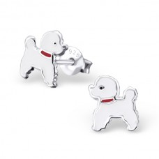 E01382-WH Sterling Silver Poodle Ear Rings with epoxy