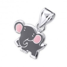 P00024-GY    Sterling Silver Elephant pendant necklace