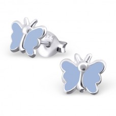 E00163-PU Sterling Silver Butterfly Ear rings with epoxy