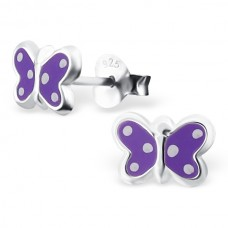 E01170-PU Sterling Silver polka dot butterfly Ear Rings with epoxy