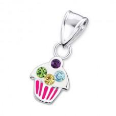 P01362-PK   Sterling silver cupcake pendant necklace