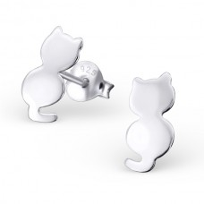 E01675-SS   Sterling Silver Plain Cat Ear Ring