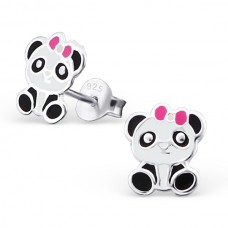 E01766-BK   Sterling Silver Panda Bear Ear rings