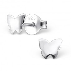 E01702-SS  Sterling Silver Plain Mini Butterfly Ear Ring