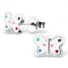 E01170-WH Sterling Silver polka dot butterfly Ear Rings with epoxy