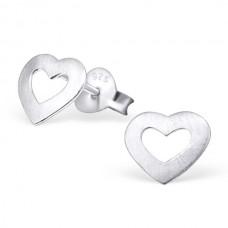 E01408-SS Sterling Silver Heart Ear Rings