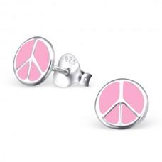 E01966-PK   Sterling Silver Pink Peace circle stud Ear rings