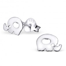 E01952-SS  Sterling Silver Plain Elephant Ear rings