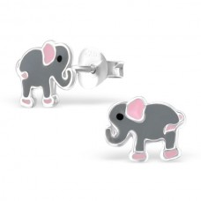 E01770-GY   Sterling Silver Grey Elephant Ear rings with epoxy