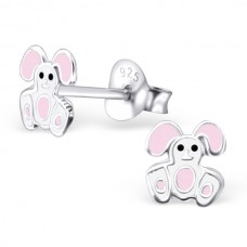 E01875-WH   Sterling Silver White Bunny Ear rings with epoxy